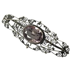 Victorian Italian Sterling Filigree Amethyst Bar Pin