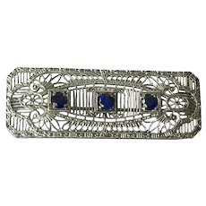 Art Deco Chromium Filigree Bar Pin With Faux Sapphires