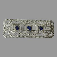 Edwardian Chromium Filigree Bar Pin With Faux Sapphires