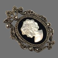Sterling Black Onyx Marcasite Mother Of Pearl Cameo Pin / Pendant