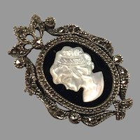 REDUCED Sterling Black Onyx Marcasite Mother Of Pearl Cameo Pin / Pendant