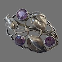 REDUCED Arts & Crafts German Sterling Amethyst Pin