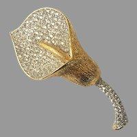 Nolan Miller Pave Rhinestone Gold Tone Calla Lily Pin