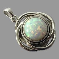 Sterling Lab Created Opal Pendant