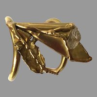REDUCED Mid-Century Brutalist Brass and Rock Crystal Cuff Bracelet Made In Brazil