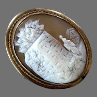 Antique Gold-Filled Scenic Shell Cameo Pin / Pendant