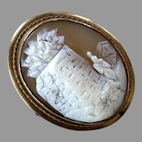REDUCED Antique Gold-Filled Scenic Shell Cameo Pin / Pendant