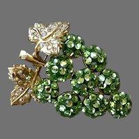 Suzanne Bjontegard Green Rhinestone Grape Cluster Pin / Pendant