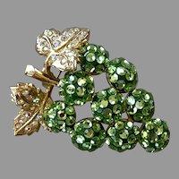 REDUCED Suzanne Bjontegard Green Rhinestone Grape Cluster Pin / Pendant