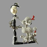 REDUCED Vintage Figural Silver Tone & Enamel Poodle Lamp Post Pin