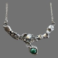 REDUCED Vintage Sterling Brutalist Necklace With Eilat Stone