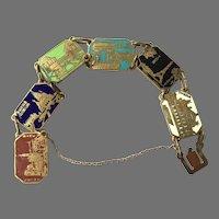 Vintage Paris Brass & Enamel Souvenir Panel Bracelet
