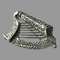 REDUCED Sterling Silver Harp Pin Made In Malta Signed JCF