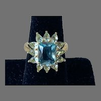 Blue Topaz Sterling Vermeil Ring Size 7.5