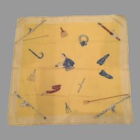 REDUCED Vintage Silk Scarf With Spear Fishing Equipment Theme