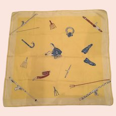 Vintage Silk Scarf With Spear Fishing Equipment Theme