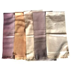 Set Of Five French Table Scarves Pastel Shades