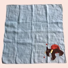 Vintage Large Linen Hankie With Applique Scottie Dog