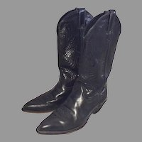 Vintage 1970's Women's Code West Black Cowgirl Boots Size 7