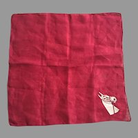 Vintage Burgundy Hankie With Horse Head Applique