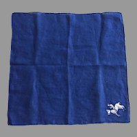 Vintage Navy Blue Hankie With Jockey On Horse Applique