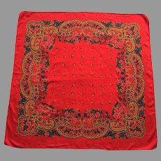 Portuguese Folklore Regional Red Floral Scarf
