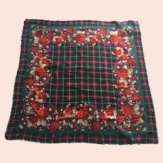 Vintage Large Wool Floral Plaid Scarf / Shawl Made In Italy