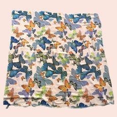 Vintage Large Polyester Chiffon Square Butterfly Scarf / Shawl