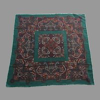 REDUCED Vintage Large Square Wool Challis Scarf / Shawl