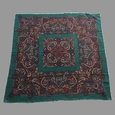 Vintage Large Square Wool Challis Scarf / Shawl