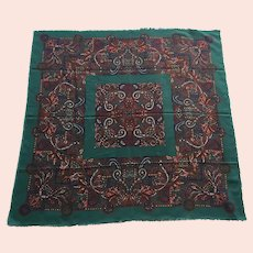 REDUCED Vintage Large Square Wool Challis Scarf / Shawl