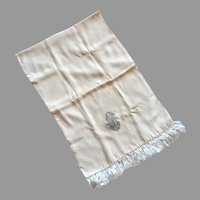 REDUCED Vintage Men's Cream Rayon Tuxedo Scarf With Knotted Fringe