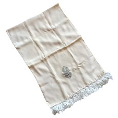 Vintage Men's Cream Rayon Tuxedo Scarf With Knotted Fringe