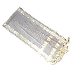 Vintage Oblong Cream Silk Scarf With Knotted Fringe