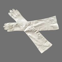 Pair Of Beige Long French Leather Gloves Made For Bonwit Teller
