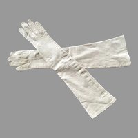 REDUCED Pair Of Beige Long French Leather Gloves Made For Bonwit Teller