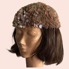 Vintage Italian Hand Made Knit Skull Cap Hat With Large Sequins