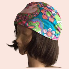 Vintage 1960's 70's Peck & Peck Mod Print Silk Hat