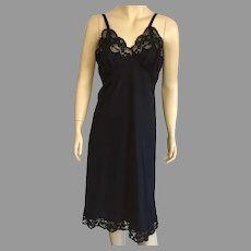 1980's Lady Lynne Black Full Slip With Lace