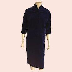 Vintage 1960's Navy Velvet Suit Junior Size