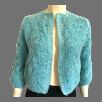 Vintage Hand Knit Turquoise Color Mohair Sweater
