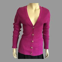 Tory Burch Magenta Cotton Button Down Long Sleeve Sweater L