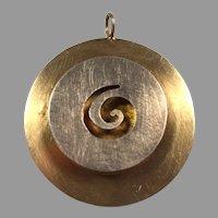 REDUCED Mid-Century Modern Round Tiered Silver & Brass Pendant