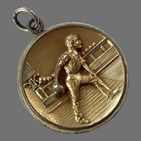 Vintage Raised Relief Gilded Brass Bowling Pendant