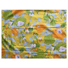 Vintage 1970's Bright Floral Pattern Cotton Fabric 3 Yards