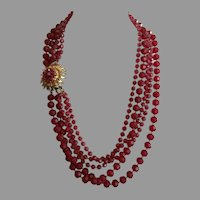 Vintage Selro / Selini Five Strand Burgundy Beaded Necklace With Ornate Clasp