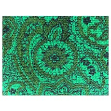 Two Pieces Vintage Green Paisley Wool Fabric