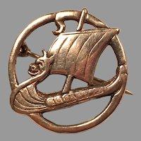 English Sterling Silver Viking Ship Pin