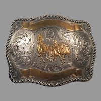 Tony Lama Sterling Front Bronze Overlay Belt Buckle
