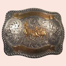 REDUCED Tony Lama Sterling Front Bronze Overlay Belt Buckle